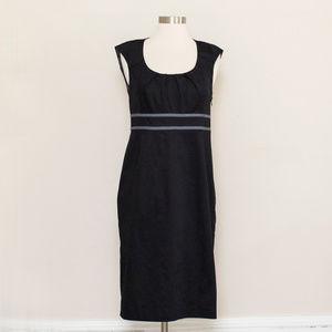 Boden Black Empire Waist Cap Sleeve Cotton Dress 6